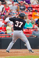 Micah Johnson (37) of the Kannapolis Intimidators at bat against the Hickory Crawdads at L.P. Frans Stadium on May 25, 2013 in Hickory, North Carolina.  The Crawdads defeated the Intimidators 14-3.  (Brian Westerholt/Four Seam Images)