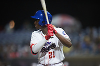 Luis Mieses (21) of the Kannapolis Cannon Ballers at bat against the Carolina Mudcats at Atrium Health Ballpark on June 9, 2021 in Kannapolis, North Carolina. (Brian Westerholt/Four Seam Images)