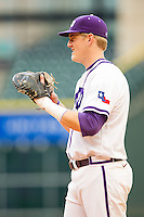 Texas Christian Horned Frogs first baseman Kevin Cron #00 on defense against the Sam Houston State Bearkats at Minute Maid Park on February 28, 2014 in Houston, Texas.  The Bearkats defeated the Horned Frogs 9-4.  (Brian Westerholt/Four Seam Images)