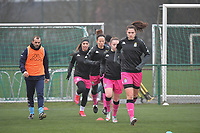 players of Charleroi  pictured during the warming up of a female soccer game between SV Zulte - Waregem and Sporting Charleroi on the eleventh matchday of the 2020 - 2021 season of Belgian Scooore Womens Super League , saturday 23 th of January 2021  in Zulte , Belgium . PHOTO SPORTPIX.BE   SPP   DIRK VUYLSTEKE