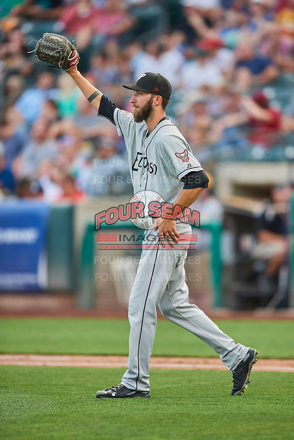 El Paso Chihuahuas starting pitcher Dillon Overton (21) during the game against the Salt Lake Bees at Smith's Ballpark on August 14, 2018 in Salt Lake City, Utah. El Paso defeated Salt Lake 6-3. (Stephen Smith/Four Seam Images)