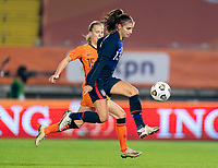 BREDA, NETHERLANDS - NOVEMBER 27: Alex Morgan #13 of the USWNT controls the ball during a game between Netherlands and USWNT at Rat Verlegh Stadion on November 27, 2020 in Breda, Netherlands.