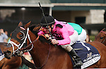 April 18, 2014: Sisterly Love and jockey Stewart Elliott win the 20th running of The Hilliard Lyons Doubledogdare Grade 3 $100,000 for owner Gary Barber and trainer Mark Casse.  Candice Chavez/ESW/CSM