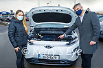Alan Hyland (National Training Manager, Hyundai Ireland) showing Siún Geaney the charging points in her new car on Monday.