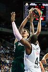Basketball Real Madrid´s Slaughter (R) and Zalgiris Kaunas´s Ulanovas during Euroleague basketball match in Madrid, Spain. October 17, 2014. (ALTERPHOTOS/Victor Blanco)
