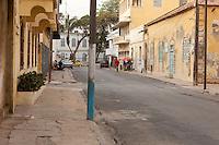 Senegal, Saint Louis.  Street Scene.  Colonial Era Buildings near the former Gouvernance.