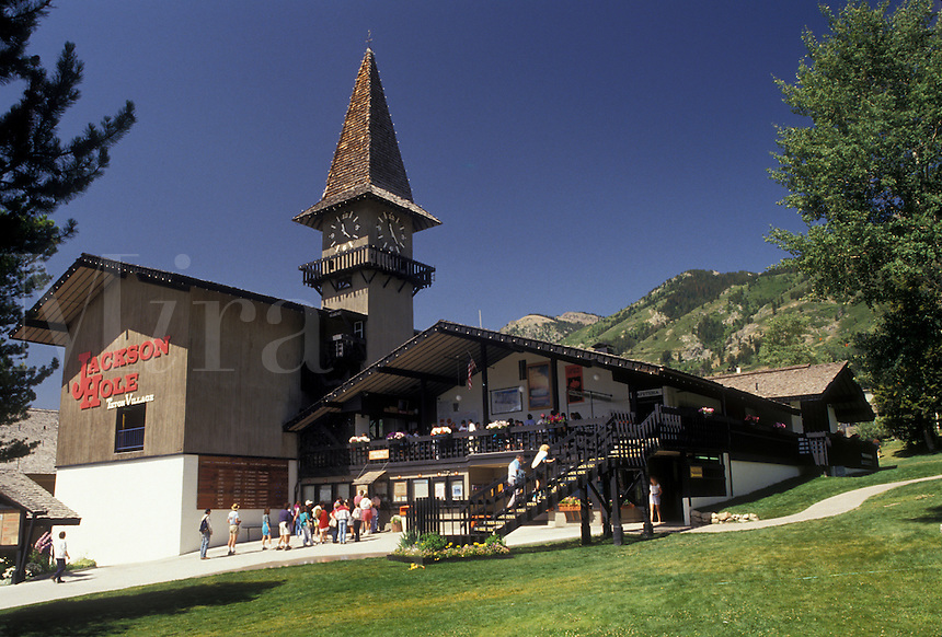 AJ3587, Jackson Hole, Wyoming, Rocky Mountains, Base lodge and aerial tramway in Teton Village in Jackson Hole Mountain Resort in the state of Wyoming.