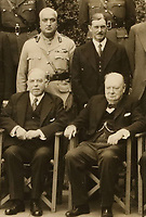 BNPS.co.uk (01202 558833)<br /> Pic: ChiswickAuctions/BNPS<br /> <br /> Pictured: Maharaja Hari Singh is top left.<br /> <br /> A never-before-seen photograph showing Prime Minister Winston Churchill hosting the very first conference of the heads of the Commonwealth at a critical time in the war has come to light.<br /> <br /> The 23ins by 27ins black and white photo was shot in the back garden 10 Downing Street on April 27, 1944, just five weeks before the Allied invasion of Nazi-occupied France.<br /> <br /> The prime ministers of Canada, Australia, New Zealand and South Africa were among the VIPS who attended the historic event.<br /> <br /> The unique photo is coming up for sale at Chiswick Auctions.