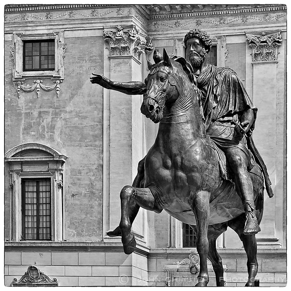 the bronze copy of statue of Emperor Marcus Aurelius in front of the Palazzo Senatorio in Rome