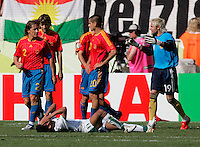 Saudi Arabian forward (11) Saad Al Harthi reacts after missing a shot in the box late in the second half. Spain defeated Saudi Arabia, 1-0, in their FIFA World Cup Group H match at Fritz-Walter-Stadion in Kaiserslautern, Germany, June 23, 2006.