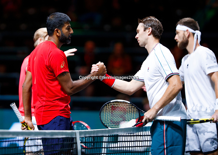 Rotterdam, The Netherlands, 11 Februari 2020, ABNAMRO World Tennis Tournament, Ahoy, <br /> Rohan Bopanna (IND) and Denis Shpovalov (CAN), John Peers (AUS) and Michael Venus (NZL).<br /> Photo: www.tennisimages.com