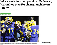 DeForest's Cole Yocum's (5) celebrates his second quarter touchdown with Adam White (75) and other teammates 10/19/19 on the way to a Wisconsin WIAA Division-3 state championship playoff birth  | Wisconsin State Journal article page B4 Sports 11/21/19 and online at https://madison.com/wsj/sports/high-school/football/wiaa-state-football-preview-deforest-waunakee-play-for-championships-on/article_2d3703b0-0681-5cf1-bfa6-5118166539dc.html
