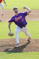 Caden Grice (31) of the Clemson Tigers delivers a pitch in a fall Orange-Purple intrasquad scrimmage on Saturday, November 14, 2020, at Doug Kingsmore Stadium in Clemson, South Carolina. (Tom Priddy/Four Seam Images)