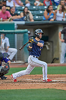 Nick Franklin (14) of the Salt Lake Bees at bat against the Albuquerque Isotopes at Smith's Ballpark on July 25, 2019 in Salt Lake City, Utah. The Bees defeated the Isotopes 8-3. (Stephen Smith/Four Seam Images)