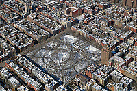 aerial photograph of Tompkins Square, Manhattan, New York City after a winter storm