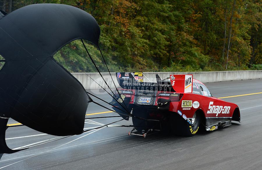 Oct. 7, 2012; Mohnton, PA, USA: NHRA funny car driver Cruz Pedregon during the Auto Plus Nationals at Maple Grove Raceway. Mandatory Credit: Mark J. Rebilas-