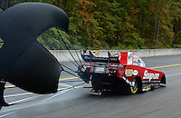 Oct. 7, 2012; Mohnton, PA, USA: NHRA funny car driver Cruz Pedregon during the Auto Plus Nationals at Maple Grove Raceway. Mandatory Credit: Mark J. Rebilas-