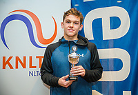 Hilversum, Netherlands, December 3, 2017, Winter Youth Circuit Masters, 12,14,and 16, years, prizegiving 16 years<br /> , 4 th place boys : Stein Pel<br /> Photo: Tennisimages/Henk Koster