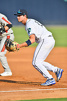Asheville Tourists first baseman C.J. Stubbs (15) during a game against the Aberdeen IronBirds on June 18, 2021 at McCormick Field in Asheville, NC. (Tony Farlow/Four Seam Images)