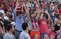 NWA Democrat-Gazette/ANDY SHUPE<br /> Arkansas fans cheer during play against Penn State Friday, Aug. 25, 2017, during the Razorbacks' 4-2 loss at Razorback Field in Fayetteville. Visit nwadg.com/photos to see more photographs from the match.