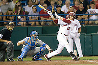 South Carolina SS Bobby Haney fouls off a pitch during Game Two of the NCAA Division One Men's College World Series Finals on June 29th, 2010 at Johnny Rosenblatt Stadium in Omaha, Nebraska.  (Photo by Andrew Woolley / Four Seam Images)