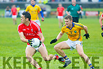 David Clifford of East Kerry in action against Niall Collins Feale Rangers during the Kerry County Senior Football Championship Round 1 match between Feale Rangers and East Kerry at Frank Sheehy Park in Listowel