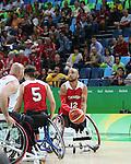 Deion Green, Rio 2016 - Wheelchair Basketball // Basketball en fauteuil roulant.<br /> The Canadian men's wheelchair basketball team competes in the wheelchair basketball preliminaries against Spain // L'équipe canadienne masculine de basketball en fauteuil roulant participe aux préliminaires de basketball en fauteuil roulant contre l'Espagne. 08/09/2016.