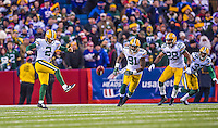 14 December 2014: Green Bay Packers kicker Mason Crosby attempts an onside kick for 13-yards, not recovered, with less than two minutes remaining in the game against the Buffalo Bills at Ralph Wilson Stadium in Orchard Park, NY. The Bills defeated the Packers 21-13, snapping the Packers' 5-game winning streak and keeping the Bills' 2014 playoff hopes alive. Mandatory Credit: Ed Wolfstein Photo *** RAW (NEF) Image File Available ***