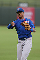 Varonex Cuevas of the AZL Cubs during a game against the AZL Rangers at Surprise Stadium on July 6, 2014 in Surprise, Arizona. AZL Rangers defeated the AZL Cubs, 7-5. (Larry Goren/Four Seam Images)