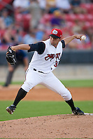 Starting pitcher Camilo Vazquez #35 of the Carolina Mudcats in action versus the Birmingham Barons at Five County Stadium August 15, 2009 in Zebulon, North Carolina. (Photo by Brian Westerholt / Four Seam Images)