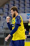 Jubel von Mait Patrail (Rhein Neckar Löwen Nr.9) - beim Bundesligaspiel: Rhein Neckar Loewen gegen SC DHfK Handball Leipzig am 15.10.2020 in der SAP-Arena in Mannheim<br /> <br /> Foto © PIX-Sportfotos *** Foto ist honorarpflichtig! *** Auf Anfrage in hoeherer Qualitaet/Aufloesung. Belegexemplar erbeten. Veroeffentlichung ausschliesslich fuer journalistisch-publizistische Zwecke. For editorial use only.