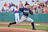 Mississippi Braves starting pitcher Lucas Sims (14) delivers a pitch during a game against the Tennessee Smokies at Smokies Stadium on July 23, 2016 in Kodak, Tennessee. The Braves defeated the Smokies 3-0. (Tony Farlow/Four Seam Images)