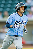 Jack Lopez (11) of the Wilmington Blue Rocks hustles down the first base line against the Winston-Salem Dash at BB&T Ballpark on August 3, 2013 in Winston-Salem, North Carolina.  The Blue Rocks defeated the Dash 4-2.  (Brian Westerholt/Four Seam Images)