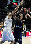 Real Madrid's Gustavo Ayon (l) and Alba Berlin's Alex King during Euroleague match.March 12,2015. (ALTERPHOTOS/Acero)