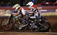 Heat 1: Peter Karlsson (red), Peter Ljung (yellow) and Jason Doyle (white) - Lakeside Hammers vs Leicester Lions, Elite League Speedway at the Arena Essex Raceway, Pufleet - 04/04/14 - MANDATORY CREDIT: Rob Newell/TGSPHOTO - Self billing applies where appropriate - 0845 094 6026 - contact@tgsphoto.co.uk - NO UNPAID USE