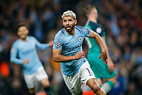 Sergio Aguero of Manchester City celebrates after scoring his side's fourth goal to make the score 4-2 during the UEFA Champions League Quarter Final second leg match between Manchester City and Tottenham Hotspur at the Etihad Stadium on April 17th 2019 in Manchester, England. (Photo by Daniel Chesterton/phcimages.com)<br /> Foto PHC/Insidefoto <br /> ITALY ONLY