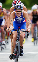 24 JUN 2012 - KITZBUEHEL, AUT - Stuart Hayes (GBR) of Great Britain leads the front pack during the elite men's 2012 World Triathlon Series round at Schwarzsee in Kitzbuehel, Austria .(PHOTO (C) 2012 NIGEL FARROW)