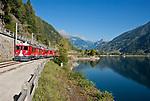 Schweiz, Graubuenden, bei Puschlav (Poschiavo) im Puschlavtal (Val Poschiavo) der Bernina-Express am Puschlaversee (Lago di Poschiavo) | Switzerland, Graubuenden, near Poschiavo at Val Poschiavo with Bernina Express at Lago die Poschiavo