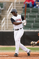 Kannapolis first baseman Chris Carter swings and misses versus Charleston at Fieldcrest Cannon Stadium in Kannapolis, NC, Wednesday, April 18, 2007.  The River Dogs defeated the Intimidators by the score of 1-0.