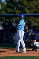 AZL Royals Edickson Soto (19) at bat during an Arizona League game against the AZL Brewers Blue at Surprise Stadium on June 18, 2019 in Surprise, Arizona. AZL Royals defeated AZL Brewers Blue 12-7. (Zachary Lucy/Four Seam Images)
