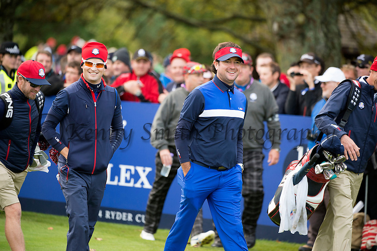 Americans Zach Johnson and Bubba Watson share a laugh as they walk off the 11th tee during a practice session at Gleneagles Golf Course, Perthshire. Photo credit should read: Kenny Smith/Press Association Images.