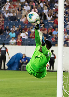 NASHVILLE, TN - JULY 3: Andre Blake #1 makes a diving save during a game between Jamaica and USMNT at Nissan Stadium on July 3, 2019 in Nashville, Tennessee.