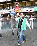 Midnight Lucky with Rosie Napravnik win the Grade I Acorn Stakes for fillies 3-year olds, going 1 mile, at Belmont Park.  Trainer Bob Baffert  Owners Karl Watson, Michael Pegram & Paul Weitman