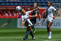 BRIDGEVIEW, IL - JUNE 5: Debinha #10 of the North Carolina Courage reacts to a play with Tierna Davidson #26 of the Chicago Red Stars during a game between North Carolina Courage and Chicago Red Stars at SeatGeek Stadium on June 5, 2021 in Bridgeview, Illinois.