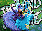 """No Repro Fee.<br /> Artastic Pageant characters, Rachel Lalley (left) and Piyanuch Chanphet, pictured in the historic grounds of St. Patrick's Park as they burst into colour as the Lord Mayor of Dublin Brendan Carr officially launched St. Patrick's Festival 2017. The theme for this year's festival is """"Ireland You Are"""" and young children were on hand to display words which they believe describes their Ireland today. Pic. Robbie Reynolds"""