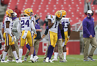 LSU cornerback Eli Ricks (1) reacts after being disqualified from the game, Saturday, November 21, 2020 during the third quarter of a football game at Donald W. Reynolds Razorback Stadium in Fayetteville. Check out nwaonline.com/201122Daily/ for today's photo gallery. <br /> (NWA Democrat-Gazette/Charlie Kaijo)