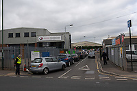 SIDCUP, KENT.<br /> Long queues at Foots Cray recycling center cause traffic chaos as recycling centers across the country open for business following the Government update to slowly release lockdown on 13 May 2020. Photo by Alan  Stanford.