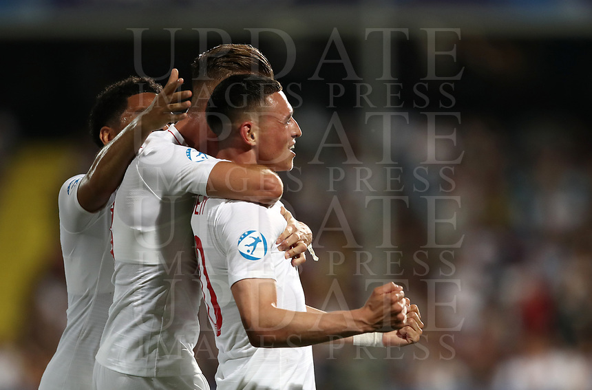 Football: Uefa under 21 Championship 2019, England - France, Dino Manuzzi stadium Cesena Italy on June18, 2019.<br /> England's Phil Foden (r) celebrates after scoring with his teammate James Maddison (c) and Jay DaSilva (l) during the Uefa under 21 Championship 2019 football match between England and France at Dino Manuzzi stadium in Cesena, Italy on June18, 2019.<br /> UPDATE IMAGES PRESS/Isabella Bonotto