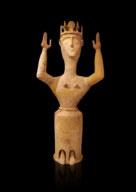 Minoan Postpalatial terracotta  goddess statue with raised arms and crown,  Karphi Sanctuary 1200-1100 BC, Heraklion Archaeological Museum, black background. <br /> <br /> The Goddesses are crowned with symbols of earth and sky in the shapes of snakes and birds, describing attributes of the goddess as protector of nature.
