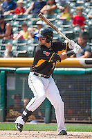 Kaleb Cowart (31) of the Salt Lake Bees at bat against the Omaha Storm Chasers in Pacific Coast League action at Smith's Ballpark on August 16, 2015 in Salt Lake City, Utah. Omaha defeated Salt Lake 11-4. (Stephen Smith/Four Seam Images)